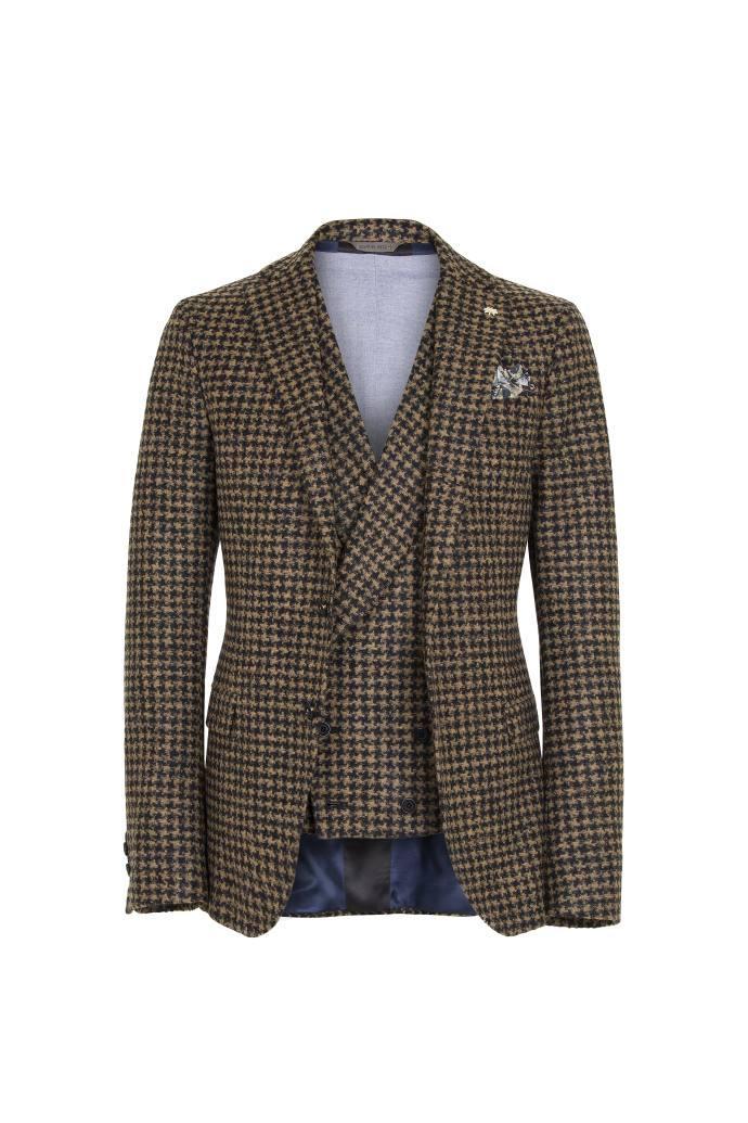 Manuel Ritz Giacca e gilet in lana con lavorazione pied de poule