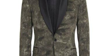 Manuel Ritz Giacca tuxedo in cotone con texture camouflage