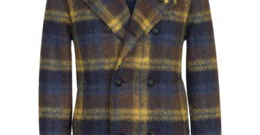 Manuel Ritz Peacot doppio petto in lana cotta check