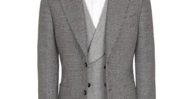 Paoloni Giacca in lana micro jacquard