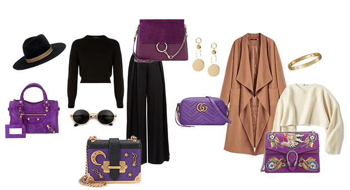 come abbinare la borsa viola ultra violet
