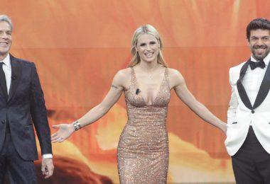 Claudio Baglioni, Michelle Hunziker e Pierfrancesco Favino Sanremo 2018